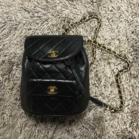 b4ecd443f25b CHANEL Handbags - Vintage chanel backpack 24k gold chains quilted